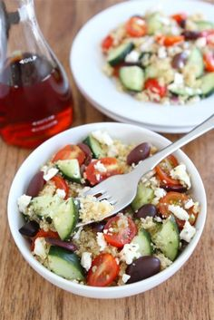 Greek Quinoa Salad Recipe on twopeasandtheirpod.com Love this healthy and easy salad!