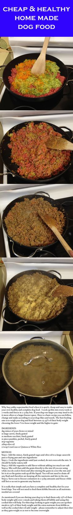 Quick, cheap, easy and healthy home made dog food...