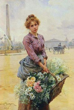 "Louis Marie de Schryver (French artist, 1862-1942) ""The Flower Seller"""
