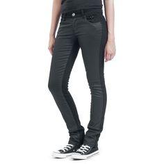 """#Pantaloni donna """"Studded Double Black"""" della collezione #BlackPremiumbyEMP, 98% cotone, 2% elasthane con inserti cerati neri sulla parte frontale e occhielli neri su una delle tasche laterali. Taglio Slim Fit a vita bassa."""