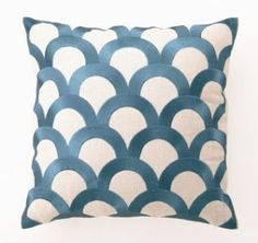 Wedgewood blue + white fish scale pillow.