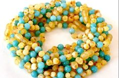 Baltic Amber and Turquoise Baby RAW Teething Necklace Rounded Beads -- It's A Boy