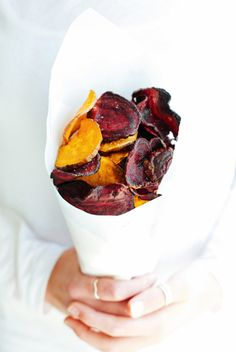 ... beetroot & sweet potato chips ...