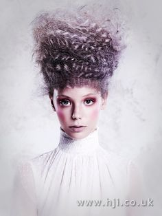 2016 Smokey deep purple avant garde beehive up do with curly and crimped texture - Hairstyle Gallery
