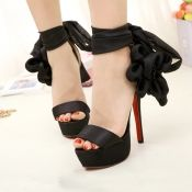 $19.99 Fashion Side Florals Embellished Stiletto High Heels Black Suede Adjustable Ankle Wrap Sandals
