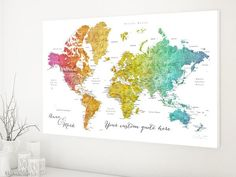 Custom quote world map canvas print - colorful gradient watercolor world map with cities. Color combination: Phoenix