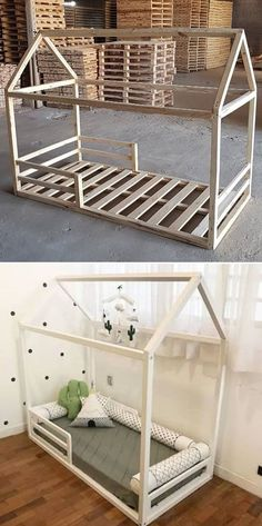Top 25 Innovative Pallet Furniture Ideas Pallet kid bed The post Top 25 Innovative Pallet Furniture Ideas appeared first on Pallet Ideas. Baby Bedroom, Baby Room Decor, Girls Bedroom, Bedroom Size, Kid Bedrooms, Pallet Kids, Pallet Toddler Bed, Pallet Ideas For Baby Room, Bed Ideas For Kids
