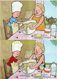 Verschillen ontdekken: Bij oma en opa   Zoek de 5 verschillen            Memory: Cupcakes  (naar een idee van juf Sarah op facebook)    M...