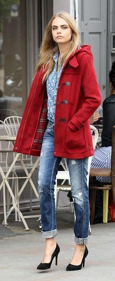 Red jacket, blue jeans, high shoes and grey tee shirt street style