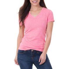 Faded Glory Women's Essential Short Sleeve Vneck T-Shirt, Size: Large, Orange