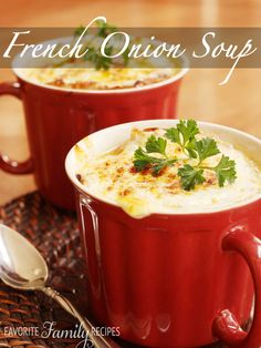 This French Onion Soup is way better than what I have had at most restaurants. The rich flavor of the broth paired with the gooey cheese is unbeatable!