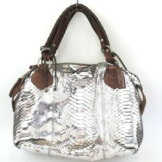 Pauric Sweeney Python Bag Metallic Silver with Brown Leather