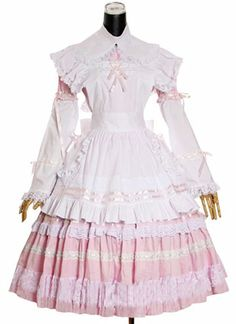 Pink Long Sleeve Cotton Cosplay Lolita Dress