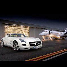 Sexy white SLS with a sexy white plane!