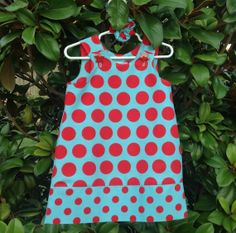 Large Aqua and Red Dot Dress w Dotted Band (infant, baby, girl, toddler,child) Jumper, Sundress, with matching hair accessory.