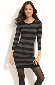 French Connection striped sweater dress ... paired with knee high boots ... cute!