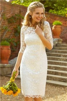 Sheath/Column Jewel Knee-length Lace Wedding Dress