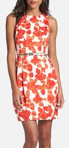 pretty belted print sheath dress http://rstyle.me/n/hwub9r9te