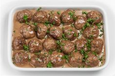 Heavenly Swedish Meatballs with Gravy: 'Learn how to make mouthwatering meatballs with lashings of gorgeous gravy just like the Swedes do! Once you've made your own you'll never shop-buy again. Porcini Mushrooms, Creamed Mushrooms, Stuffed Mushrooms, Stuffed Peppers, Pork Recipes, New Recipes, Family Recipes, Yummy Recipes, Swedish Meatball Recipes
