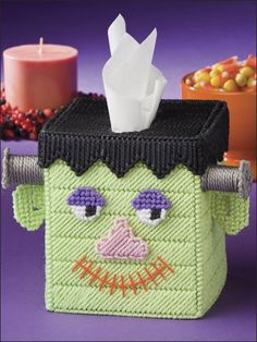 Plastic Canvas - Projects for the Home Here's a winsome guy who'll add tons of character to your Halloween decorating scheme. This e-pattern was originally published in Holiday Tissue Toppers. Plastic Canvas Ornaments, Plastic Canvas Tissue Boxes, Plastic Canvas Crafts, Plastic Canvas Patterns, Halloween Canvas, Fun Halloween Crafts, Halloween Crochet, Halloween Patterns, Halloween Stuff