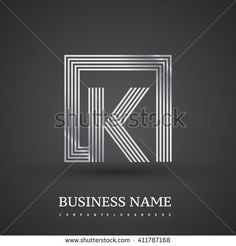 Letter K logo in a square. silver colored. Vector design template elements  for company identity. - stock vector