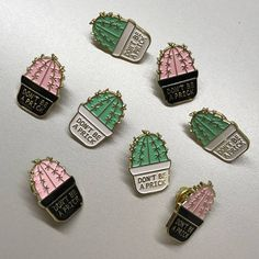 Dont Be A Prick Cactus Pin - Cute for any plant lover that loves a good joke.  W H A T Y O U N E E D T O K N O W: 1. You will receive 1 enamel pin  2. You can choose from a pink cactus or lt. green cactus.  3. Pin size is 1.  4. Your pin has clasp backing to stay securely on.   N O T E : Colors may vary slightly from screen to physical item. Your pin(s) will be attached to a printed backing card and be sent in a padded envelope to ensure it gets to you safely.  If you have any questions…
