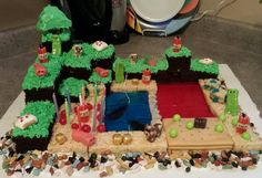 Minecraft cake....everything's edible :) Minecraft Cake, Desserts, Food, Tailgate Desserts, Dessert, Postres, Deserts, Meals, Mine Craft Cake