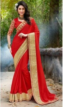 Red Color Raw Silk Embroidered Party wear Sarees with Stitched Blouse…