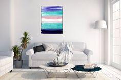 Original Abstract Painting on Canvas ,  Purple Blue Pink , 32x24 Modern Wall Art ,Home Decor,Minimalist Art BATHROOM