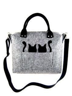 c1f319a1f5abf Cat Bag Felt Bag Coffer Large Gift Kitty Kitten Pet Tote Purse Women  Designer Handmade Handbag Shoulder Crossbody Bag Valentine s Gift