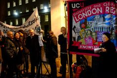 """A pro-immigration protest outside Downing Street yesterday failed to attract more than 25 people, even though one of the political left's big-wigs turned up to give a speech about government """"cuts"""" to funding for English lessons for migrants"""
