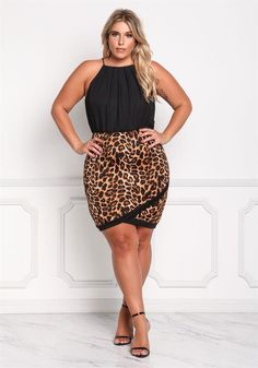Plus Size Clothing | Plus Size Leopard Two Tone Surplice Bodycon Dress | Debshops