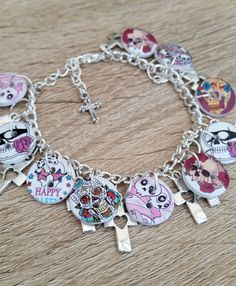 Skull Charm Bracelet Wooden Buttons Silver by CiaoBambinoUK