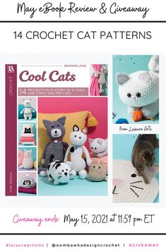 14 Crochet Cat Projects Cool Cats includes 14 Crochet Cat Projects. You will find patterns for adorable amigurumi cats, to kitty inspired home décor projects like blankets and pillows. Giveaway open worldwide where allowed by Law. Void in Quebec. Ends: May 15, 2021 at 11:59 pm ET. Not affiliated with Facebook, Instagram or Pinterest. Crochet Cat Pattern, Crochet Yarn, Inspired Homes, Cool Cats, Facebook Instagram, Quebec, Teddy Bear, Kitty, Blankets