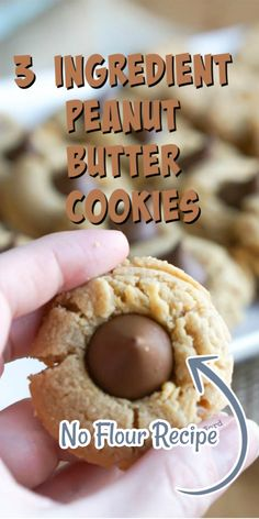 If you love peanut butter cookies, you should try this classic 3 ingredient peanut butter cookies Enjoy these cookies the traditional way or with a kiss! Amazing Cookie Recipes, Best Dessert Recipes, Sweets Recipes, Drink Recipes, Bread Recipes, Yummy Recipes, Cooking Recipes, Easy No Bake Desserts, Easy Desserts