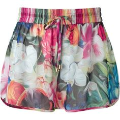 Ted Baker Imarae Floral Swirl Shorts, Red/Pink Multi ($70) ❤ liked on Polyvore featuring swimwear, cover-ups, tie-dye swimwear, ted baker swimwear, red swimwear, pink cover up and beach cover up