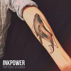 by @inkpowertattoo.  #tattoo #dotwork #whale #whaletattoo