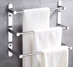 Cheap bathroom accessories, Buy Quality bathroom wall accessories directly from China modern bathroom accessories Suppliers: Modern 304 Stainless Steel Towel Bar/Towel Rack 3 layers bathroom shelf Wall Mounted Bathroom Accessories Bathroom Shelves For Towels, Towel Shelf, Towel Rack Bathroom, Bathroom Wall, Small Bathroom, Bathroom Fixtures, Bathroom Chair, Bathroom Stand, Rental Bathroom