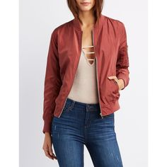 Charlotte Russe Zip-Up Bomber Jacket ($37) ❤ liked on Polyvore featuring outerwear, jackets, apple butter, flight bomber jacket, blouson jacket, zip jacket, utility jacket and light weight jacket
