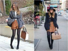 Aprenda a usar meia calça. Brown and black.