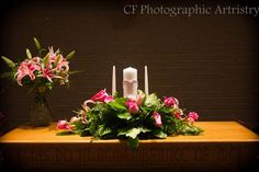 Beautiful flower arrangement for the unity candle.
