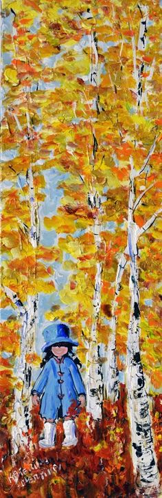Collecting Leaves by Katerina Mertikas, Acrylic on Canvas, Painting | Koyman Galleries