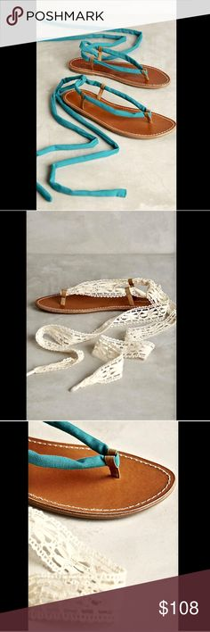 Anthropologie Interchangeable Lace Up Sandals 9 Anthropologie Miss Albright Katie natural leather Interchangeable Lace Up Sandals  2 sandals in 1! Quick change on the natural tan flat footbed with a rubber sole either choose turquoise cotton lace up wrap ankle laces or the extra pair of ivory lace laces New With Box  *  Size:  9  *Please Note:  These Sandals Run True To Size  footbed measures:  10.5\