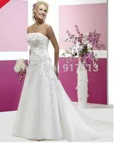 Find More Wedding Dresses Information about Vestido De Noiva 2015 Hot sale Elegant A Line Strapless Lace up Applique Organza Chapel Wedding Dresses Free Shipping Stock Size,High Quality dress pants elastic waist,China wedding invitation cards manufacturers Suppliers, Cheap wedding favor chocolate boxes from Rosesnowke  store on Aliexpress.com