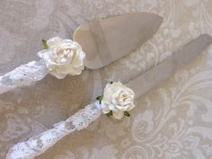 Vintage Lace Shabby Chic Wedding Cake Knives by creations4brides