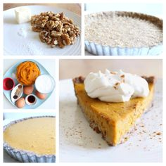 Ultimate Walnut Pie Crust with Pumpkin Filling This sounds absolutely glorious. Paleo Dessert, Gluten Free Desserts, Sweet Recipes, Whole Food Recipes, Paleo Nuts, Walnut Pie, Paleo Baking, Primal Recipes, Paleo Treats