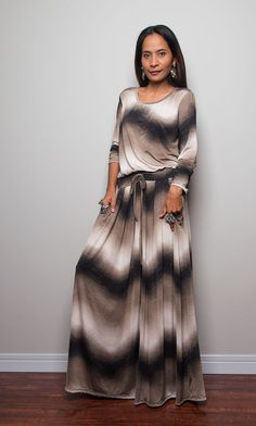 Maxi Dress -  Long Sleeve Dress : Autumn Thrills Collection No.1 Print Version (Best Seller) on Etsy, $59.00