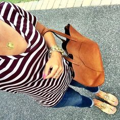 IG @mrscasual <click through to shop this look> Halogen striped tee. Monogram necklace. Old navy cropped boyfriend jeans. Cognac tote bag.