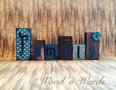Brown and Teal wooden block set for home decor. Visit my FB page www.facebook.com/kimswoodnwords or follow me on Instagram @woodnwords. #woodnwords #personalized #teal #family