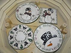 New size deviled egg plate and snowman plates in kiln
